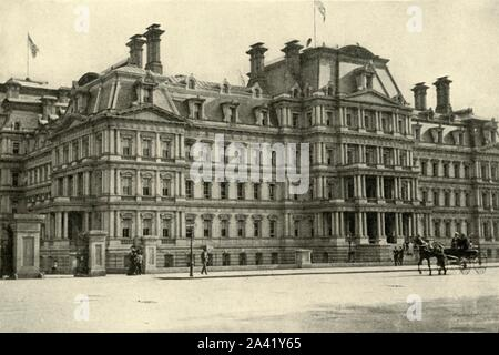 """'Army and Navy Building, June 4th', 1898, (1899). Headquarters of the Department of State and the Army and Navy, Washington DC, USA. From """"The Little I saw of Cuba"""" by Burr McIntosh, with photographs by the author. (In 1898, American actor and journalist William Burr McIntosh went to Cuba to cover the Spanish-American War for """"Leslie's Weekly"""" as a reporter and photographer). [F. Tennyson Neely, London & New York, 1899] - Stock Photo"""