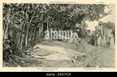 """'Scene after """"Rough Riders"""" Battle, June 24th', Spanish-American War, Cuba, 1898, (1899). In the foreground are the bodies of Sergeant Hamilton Fish and Private Stevens of the 1st United States Volunteer Cavalry, killed in the Battle of Las Guasimas. Behind them is a meeting of US officers and war correspondents: journalist Richard Harding Davis, General Henry Ware Lawton, General Leonard Wood, and (future president) Lieutenant Colonel Theodore Roosevelt. From """"The Little I saw of Cuba"""" by Burr McIntosh, with photographs by the author. (In 1898, American actor and journalis - Stock Photo"""