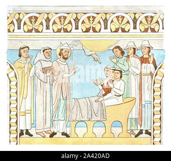 """Painting in the nave of Aal Church, Denmark, (1928). '1st Quarter of 13th Century...Aal Church (Amt Ribe). St. Nicholas resuscitates three murdered youths'. After J. Magnus-Petersen. Plate LIX, fig 130, from """"An Encyclopaedia of Colour Decoration from the Earliest Times to the Middle of the XIXth Century"""" with explanatory text by Helmuth Bossert. [Ernst Wasmuth Ltd., Berlin, 1928] - Stock Photo"""