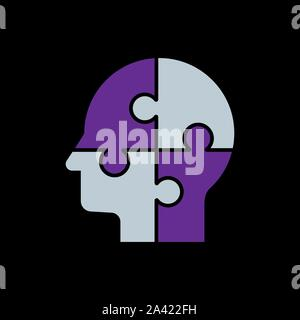 Human s head with puzzles for psychology concept. Vector illustration