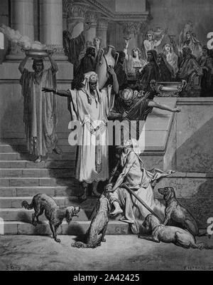 Parable of the Rich man and Lazarus. Gospel of Luke (Luke 16:19-31). Engraving. Bible Illustration by Gustave Dore. 19th century. - Stock Photo