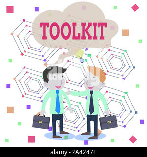 Writing note showing Toolkit. Business concept for set of tools kept in a bag or box and used for a particular purpose Two White Businessmen Colleague - Stock Photo