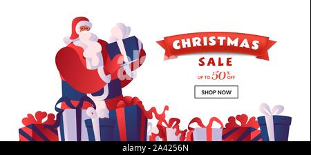 Christmas sale flat vector landing page template. Santa with gift boxes. Winter holidays 50 percent discount offer, total clearance, special price advert for online store homepage design layout - Stock Photo
