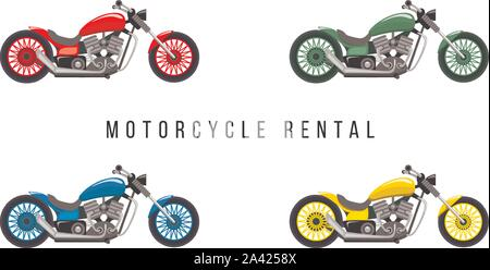 Motorcycle rental service banner flat template. Two-wheeled transport types, motor vehicles vector illustrations set. Motorcycle rental advertising poster, flyer, billboard design layout - Stock Photo