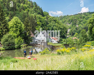 River Wiesent in the Franconian Switzerland - Stock Photo