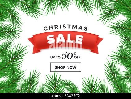 Christmas sale flat vector homepage template. Red ribbon with 50 percent discount in realistic fir tree branches frame. New Year, winter holidays special price offer landing page design layout - Stock Photo