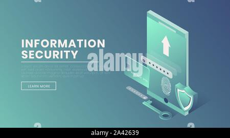 Information security landing page vector 3d template. Account access, fingerprint scanner, voice identification webpage design layout. Personal information protection isometric illustration - Stock Photo