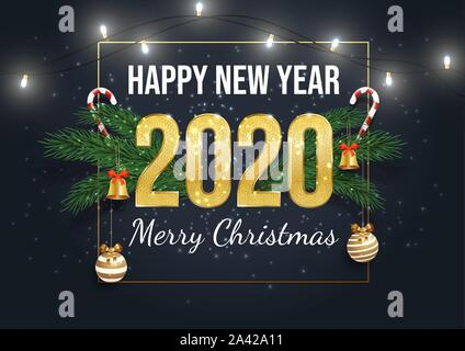 Happy 2020 year greeting card template. Merry christmas postcard, december holiday banner concept. Decorated fir tree branches, garland and caramel canes realistic illustration with typography - Stock Photo