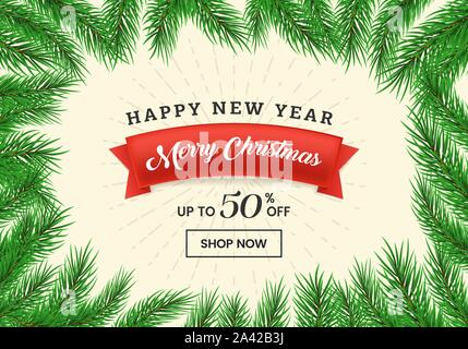 Winter sale flat landing page template. Red ribbon with Merry Christmas lettering in realistic fir tree branches frame. New Year, December holidays 50 percent discount offer webpage design layout - Stock Photo