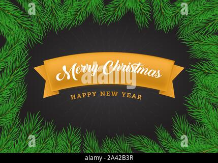 Christmas greetings flat banner template. Yellow ribbon with calligraphy inscription on black background. Winter holidays postcard design layout with realistic fir tree branches frame - Stock Photo