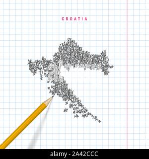 Croatia sketch scribble map drawn on checkered school notebook paper background. Hand drawn vector map of Croatia. Realistic 3D pencil. - Stock Photo