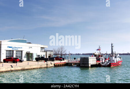Toronto, Canada - March 20,2019: Toronto Fire and Marine Station at the lake Ontario - Stock Photo