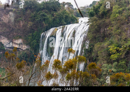Huangguoshu Waterfall National Park in Guizhou Province in China, in winter season,the world's largest waterfall cluster. There are 18 of them in all. - Stock Photo