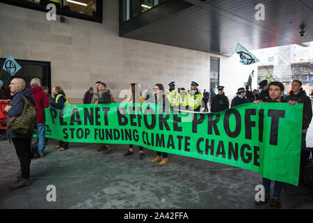 London, UK. 11 October, 2019. Climate activists from Extinction Rebellion protest outside the BBC's New Broadcasting House on the fifth day of International Rebellion protests. They were demanding that the broadcaster 'tell the truth' regarding the climate emergency. Credit: Mark Kerrison/Alamy Live News - Stock Photo