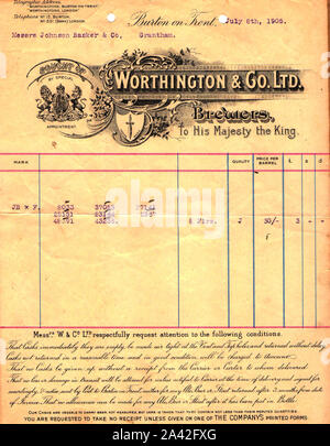 1905  A Worthington brewery letterhead  / billhead (Burton on Trent, England showing they were brewers to the Royal family. (Established 1761) - Stock Photo