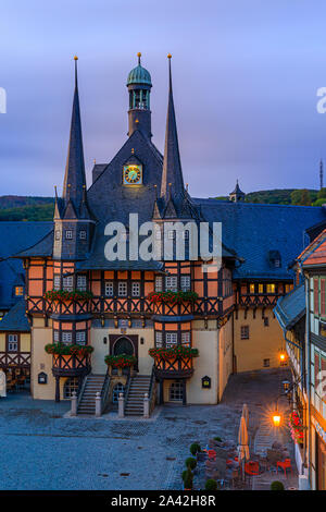 The famous Town Hall in Wernigerode at sunrise. Wernigerode is a town in the district of Harz, Saxony-Anhalt, Germany.  Wernigerode is located southwe - Stock Photo
