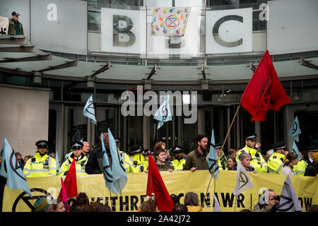 Extinction Rebellion,  London, October 11th 2019. Occupying the BBC, Oxford Circus. - Stock Photo