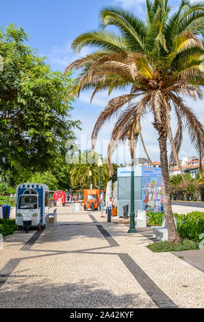 Funchal, Madeira, Portugal - Sep 10, 2019: City promenade in the Madeiran capital, Portuguese town. Cobbled pavement, green vegetation, palm tree and people on the streets. Sunny day. Daily life. - Stock Photo
