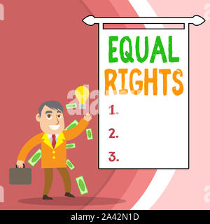 Handwriting text Equal Rights. Conceptual photo Equality before the law when all showing have the same rights Successful Businessman or Clerk Generati - Stock Photo