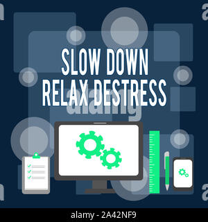 Writing note showing Slow Down Relax Destress. Business concept for calming bring happiness and put you in good mood Business Concept PC Monitor Mobil - Stock Photo