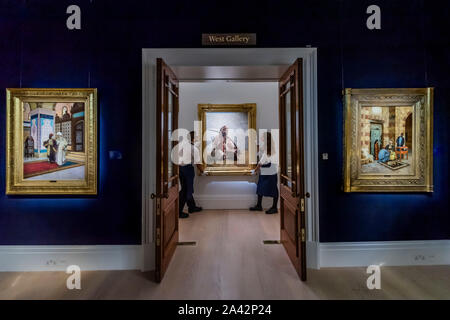 London, UK. 11th Oct 2019. Pictures in the exhibition, but not for sale - Sotheby's Offer 40 Works from the Legendary Najd Collection in a Dedicated Auction on the Evening of 22 October 2019. All 155 Paintings, Never-Before-Seen Together as a Group, will be on Public View from 11 – 15 October. Credit: Guy Bell/Alamy Live News - Stock Photo
