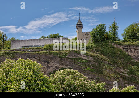 Salzburg, Austria - May 12 2017: The Museum der Moderne in Salzburg presents contemporary and modern art. It is located on the Mönchsberg - Stock Photo