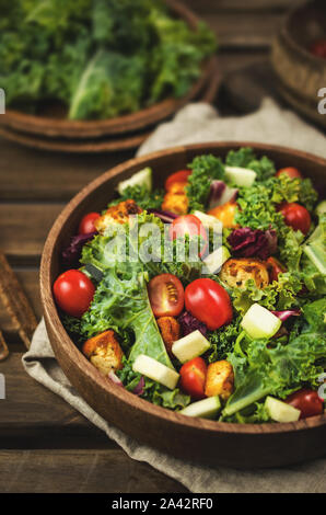 Vegan salad with kale and tofu, zero waste - Stock Photo
