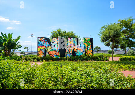 Funchal, Madeira, Portugal - Sep 10 2019: Nelson Mandela Memorial in the capital of the Portuguese island. Colorful initials N.M. of the former South African leader. South Africa, president, politics. - Stock Photo
