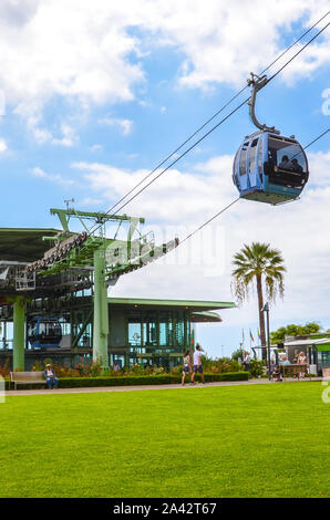 Funchal, Madeira, Portugal - Sep 10, 2019: Main cable car station in the Madeiran capital connecting the city and Monte on the adjacent hill. Gondola, funicular. Transport service, transportation. - Stock Photo