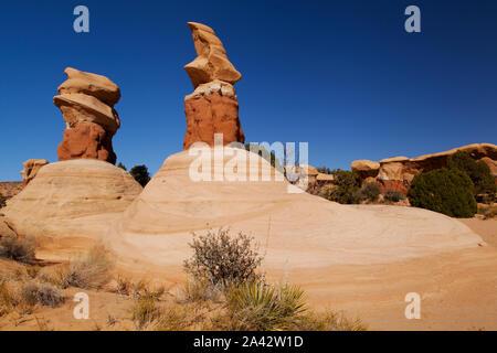 Rock formations, Devil's Garden, Grand Staircase-Escalante National Monument, Utah - Stock Photo