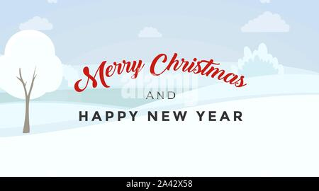 Merry Christmas vector banner template. Elegant December holidays calligraphy inscription on winter landscape. Happy New Year greeting card, postcard design layout with snowy valley background - Stock Photo