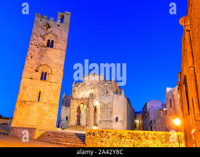 Erice, Sicily, Italy: Duomo dell'Assunta or Chiesa Madre main church of the medieval city Erice, Europe