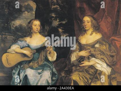 Postcard of 'Two Ladies of the Lake Family' 1660 by Sir Peter Lely -Royal Academy of Arts.  Portrait of Lady Drax and Mrs Francklin. - Stock Photo