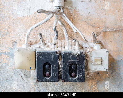 Old Vintage Switch on a wall - Stock Photo