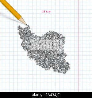 Iran sketch scribble map drawn on checkered school notebook paper background. Hand drawn vector map of Iran. Realistic 3D pencil. - Stock Photo