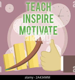 Writing note showing Teach Inspire Motivate. Business concept for Spark the Imagination to Feel the need to Learn Thumb Up Good Performance Success Es - Stock Photo