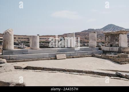 Agora des Italiens ('Agora of the Italians') on the Greek island of Delos, archaeological site near Mykonos in the Aegean Sea Cyclades archipelago. Se - Stock Photo