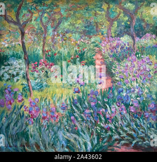 Painting entitled 'The Artist's Garden in Giverny' by Claude Monet (1840-1926), oil on canvas, 1900 - Stock Photo