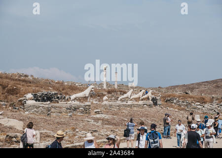 Delos, Greece - September 20, 2019: Naxian Lions statues on The Terrace of the Lions on the Greek island of Delos, archaeological site near Mykonos in - Stock Photo