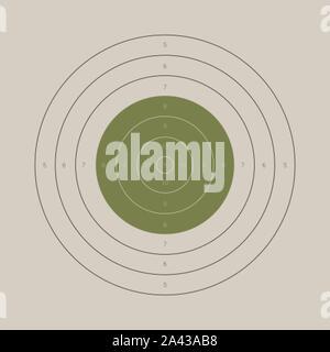 Vintage shooting range gun target with a marked bullseye - Stock Photo