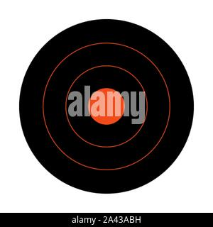 Black circular shooting target for the practice on a rifle range - Stock Photo
