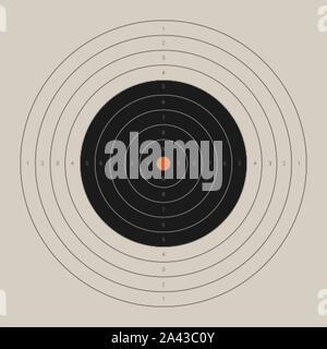 Retro shooting target. Blank bullseye aim template - Stock Photo