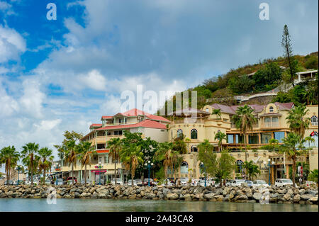 Marigot Bay / St Maarten. 04.10.2014. Panoramic view of Marine Fort Louis from Marigot Bay in Sint Maarten - Stock Photo