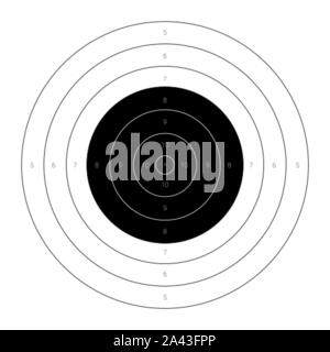 Circular bullseye target for the shooting practice on a rifle range - Stock Photo