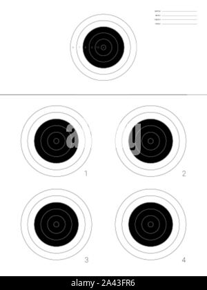 Circular tagret for the shooting practice and competition rounds on a rifle range - Stock Photo