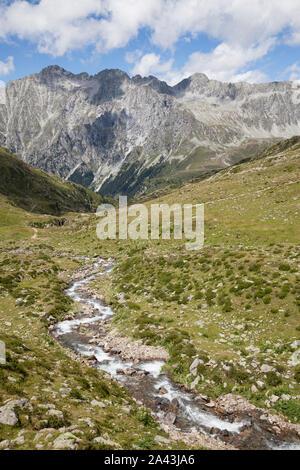 Creek in high mountain valley, Austrian/Italian Alps. - Stock Photo