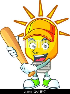 Playing baseball lamp for light in the home. vector illustration - Stock Photo
