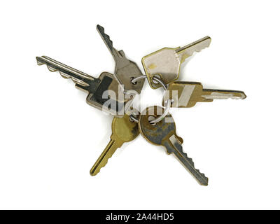 top view bunch of old vintage different keys isolated on white background. Safety and security concept - Stock Photo