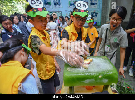 Young Chinese kids decorate ice cakes with fruits for giant panda brothers Chengjiu and Shuanghao during a celebration for their five years birthday a - Stock Photo