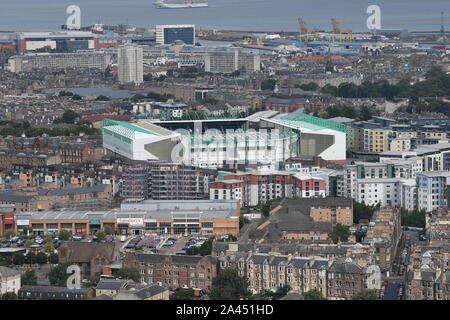 The town of Leith and the Home of Hibernian Football Club (Easter Road) seen from Arthur's Seat. - Stock Photo